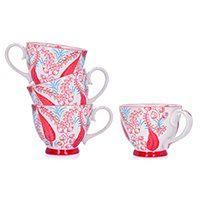 Zestaw 4 kubków z motywem roślinnym DUKA FLORIST 400 ml czerwony porcelana