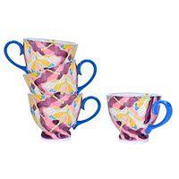 Zestaw 4 kubków z ważką DUKA FLORIST 400 ml fioletowy porcelana