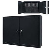 vidaXL Ścienna szafka narzędziowa, metalowa, 80 x 19 x 60 cm, czarna