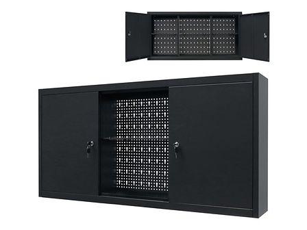 vidaXL Ścienna szafka narzędziowa, metalowa, 120 x 19 x 60 cm, czarna