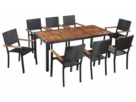 vidaXL Zestaw mebli ogrodowych, 9 części, polirattan i drewno akacjowe