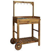 vidaXL Ogrodowy wózek kuchenny, lite drewno akacjowe, 92x43,5x141,5 cm