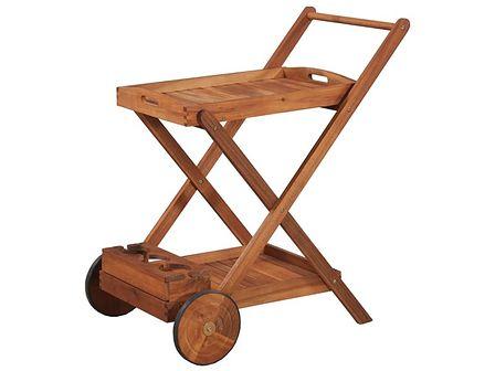vidaXL Wózek do serwowania herbaty, lite drewno akacjowe