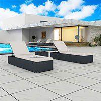 vidaXL Zestaw leżaków z polirattanu, 195 x 60 x 31 cm, czarno-biały