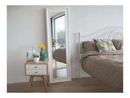 Beliani Lustro białe - w ramie - do łazienki - do salonu - 51 x 141 cm - LUNEL