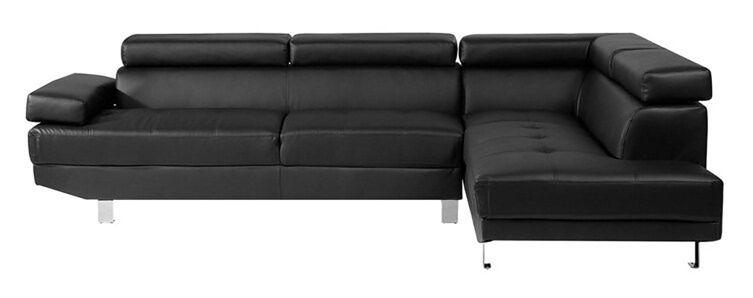 Sofa narożna skóra ekologiczna czarna NORREA