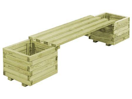 vidaXL Ławka ogrodowa z donicami, impregnowane drewno sosnowe FSC