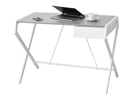 Biurko Designo białe - beton z szufladą w minimalistycznym stylu