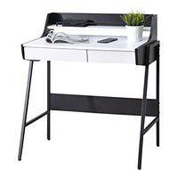 Biurko Borr biało - czarne z nadstawką i szufladami