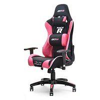 Fotel gamingowy Racer GTR czarno - różowy z poduszkami