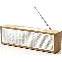 Radio z zegarem Titanium bambusowe z białym frontem