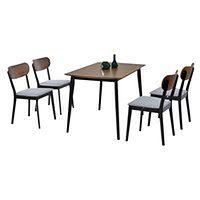 Stół z krzesłami Rasto orzechowy na czarnych nogach
