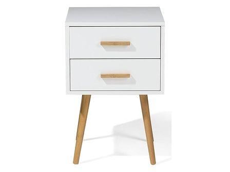 Stolik nocny biały 2 szuflady ALABAMA mały