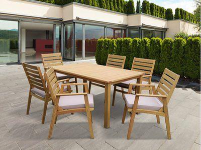 Zestaw ogrodowy AZZAO z drewna eukaliptusowego - stół i 6 foteli - szarobrązowe siedzisko