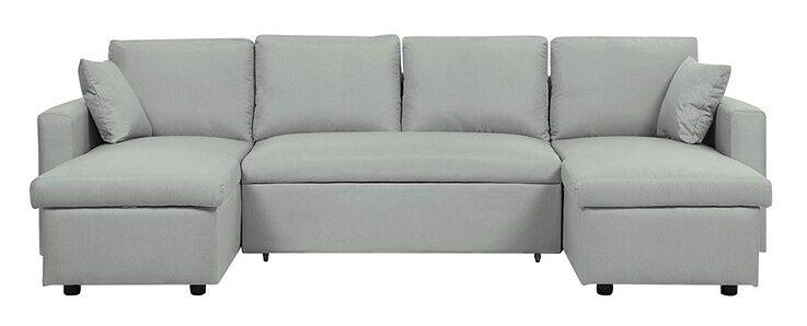 Sofa rozkładana tapicerowana jasnoszara SOMMEN