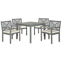 Szary zestaw stołu ogrodowego i krzeseł z drewna akacji Safavieh Riva