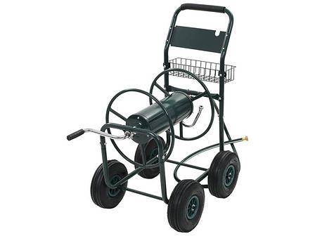 """vidaXL Wózek na wąż ogrodowy ze złączką 1/2"""" , stalowy, zielony"""