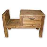 Stolik drewniany nocny / Gazetnik Natural / LEWY