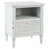 Szafka nocna, biały stolik zaprojektowany w stylu rustykalnym doda wnętrzu wyjątkowości i niebanalności
