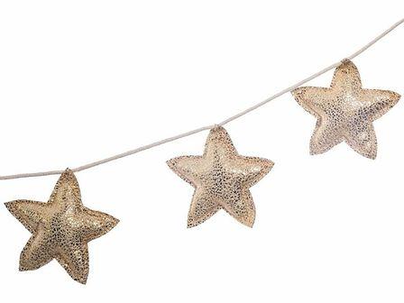 Dekoracyjna girlanda gwiazdki w kolorze złotym, bajkowe ozdoby do pokoju dziecięcego