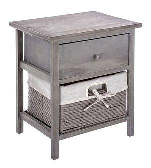 Szara szafka nocna z drewna paulowni, stylowy stolik nocny z praktyczną szufladą i wysuwanym koszem