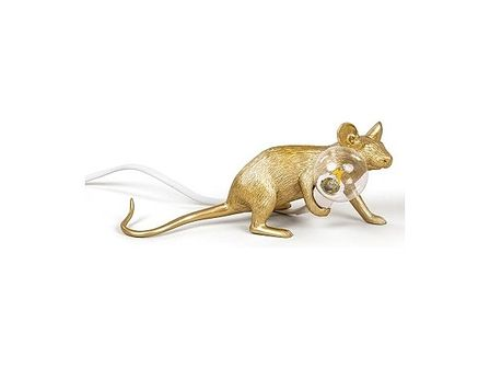 Lampa Mouse złota leżąca biały kabel