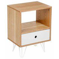 Szafka nocna retro Shulg , dekoracyjny skandynawski mebel z szufladą i półkami do sypialni