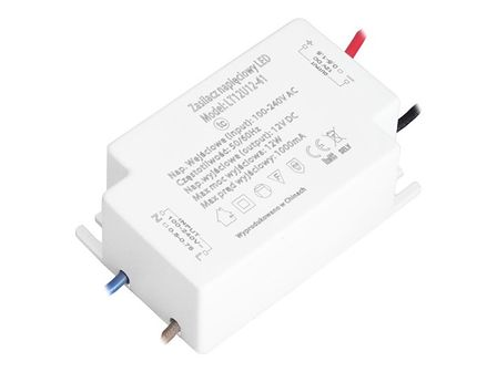 Zasilacz LED taśmy SUPER MINI miniaturowy mały 12W 12V DC IP20 1000mA