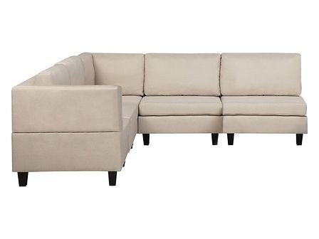 Sofa narożna tapicerowana beżowa z otomaną FEVIK