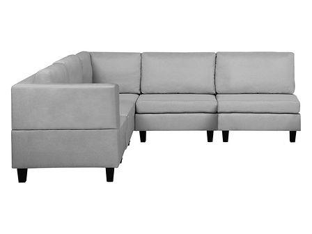 Sofa narożna tapicerowana jasnoszara z otomaną FEVIK
