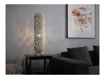 Beliani Lampa stojąca kremowo-złota MURES