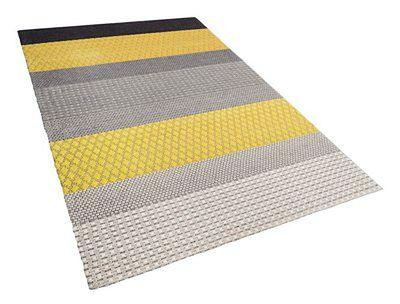 Dywan wełniany krótkowłosy 140 x 200 cm żółto-szary AKKAYA