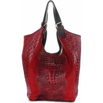 Shopper bag Vera Pelle czerwony
