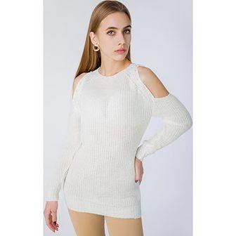 Biały sweter damski Zoio z dzianiny