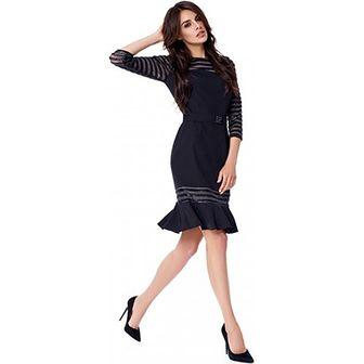 Sukienka Potis & Verso z długim rękawem czarna midi w paski w stylu glamour