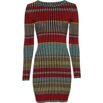 Sukienka Bonprix Bodyflirt Boutique z długim rękawem wielokolorowa na spacer midi z okrągłym dekoltem
