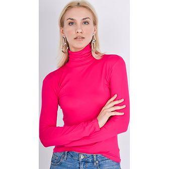 e3f6074a26 Sweter damski różowy Zoio z golfem bez wzorów