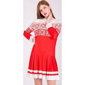 Sukienka czerwona Zoio z długim rękawem wiosenna