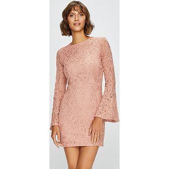 Answear sukienka z okrągłym dekoltem różowa casual z długimi rękawami mini