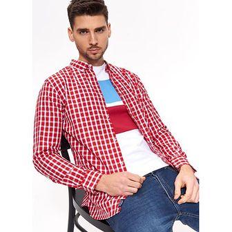 Koszula męska Top Secret w kratkę casual z długimi rękawami