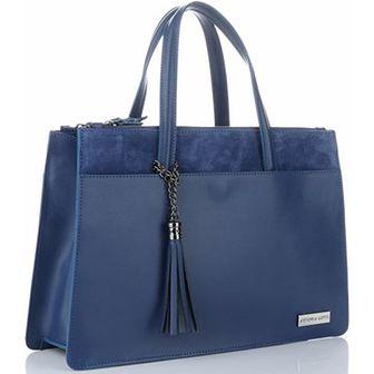 Kuferek Vittoria Gotti niebieski ze skóry