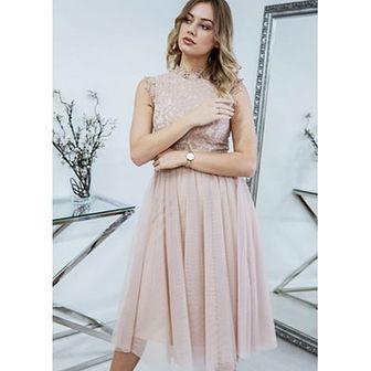 Sukienka elegancka rozkloszowana bez rękawów z okrągłym dekoltem
