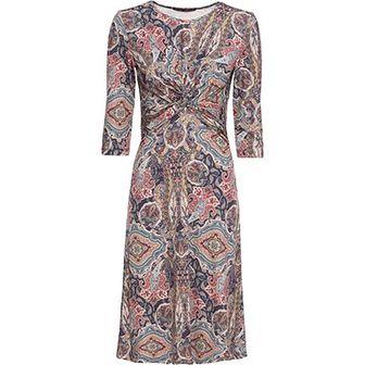 Sukienka BODYFLIRT na spacer wielokolorowa prosta z długimi rękawami casualowa