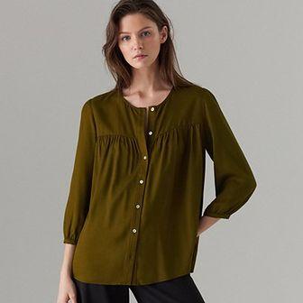 Zielona koszula damska Mohito z długim rękawem