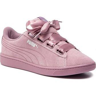 Różowe trampki damskie Puma vikky płaskie zamszowe gładkie wiązane