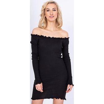 Sukienka Zoio dopasowana czarna z długim rękawem midi casual