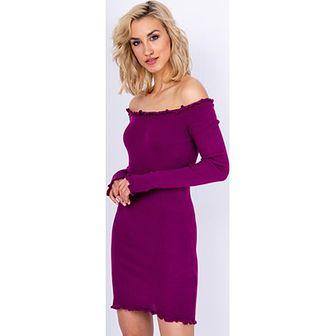 Sukienka Zoio z dekoltem typu hiszpanka bez wzorów