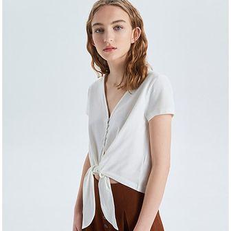 Biała bluzka damska Cropp z dekoltem w literę v bez wzorów