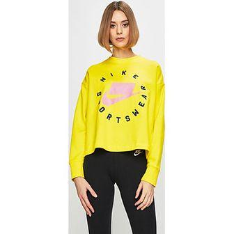 Bluza damska Nike Sportswear żółta z dzianiny z napisami