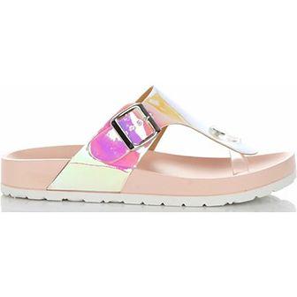 Ideal Shoes klapki damskie płaskie casualowe wielokolorowe bez wzorów